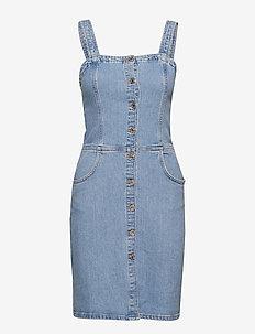 Medium denim pinafore dress - OPEN BLUE