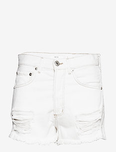 Frayed hem denim shorts - LIGHT BEIGE