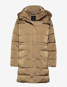 Quilted long coat - LIGHT BEIGE