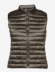 Quilted gilet - MEDIUM BROWN