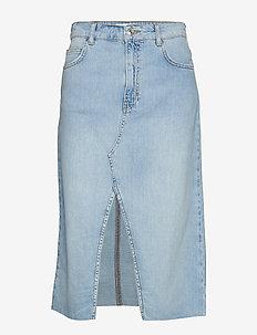 Slit denim skirt - OPEN BLUE