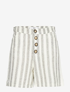 Striped linen shorts - NATURAL WHITE