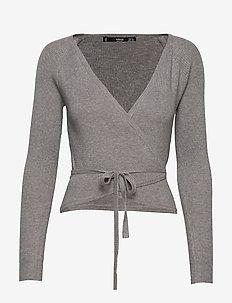 Wrap cable knit cardigan - LT PASTEL GREY