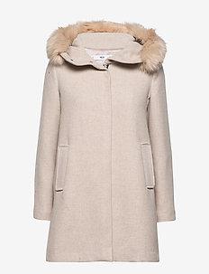 Faux fur hooded coat - LT PASTEL GREY