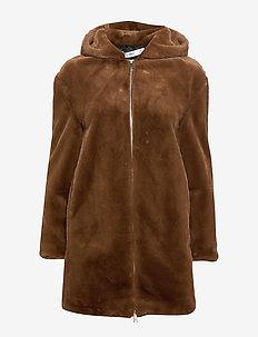 Hooded faux-fur coat - BROWN