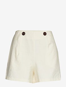 Buttoned high-waist shorts - NATURAL WHITE