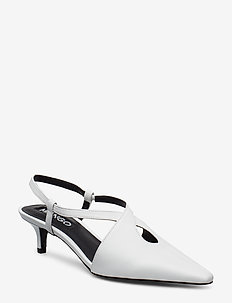 Heel leather shoes - WHITE