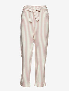Striped linen-blend trousers - LT-PASTEL PINK