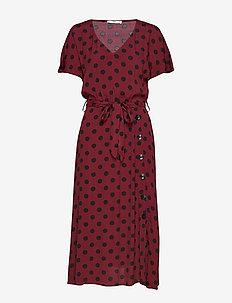 Belt midi dress - DARK RED