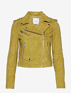 Leather biker jacket - DARK GREEN
