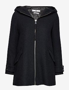 Hooded wool coat - NAVY