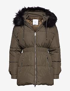 Side-zip quilted coat - BEIGE - KHAKI
