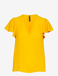 Ruffled sleeve blouse - MEDIUM YELLOW