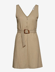 Detachable belt dress - LT PASTEL GREY