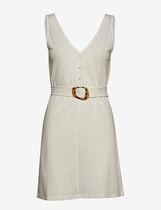 Detachable belt dress - WHITE