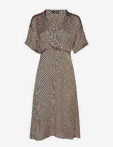 Striped shirt dress - BLACK