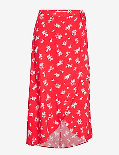 Wrap print skirt - RED