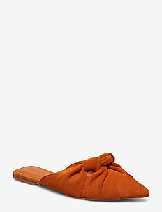 Knot leather shoes - ORANGE