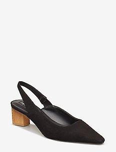 Heel leather shoes - BLACK