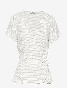 Wrap printed blouse - NATURAL WHITE