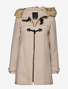Faux fur hooded coat - LIGHT BEIGE