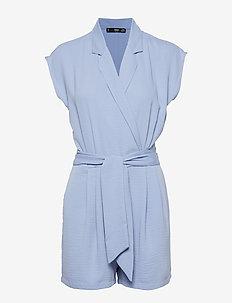 Bow wrap jumpsuit - MEDIUM BLUE