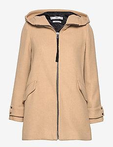 Hooded wool coat - LIGHT BEIGE