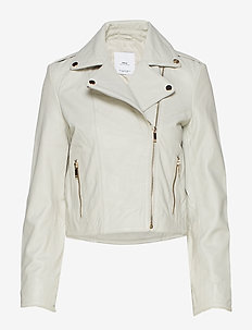 Lapelled leather biker jacket - NATURAL WHITE
