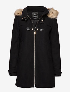 Faux fur hooded coat - BLACK