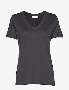 Beaded cotton t-shirt - CHARCOAL