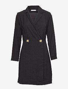 Buttoned wrap dress - BLACK