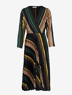 Striped midi dress - GREEN