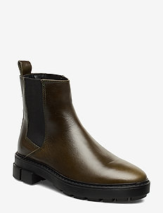 Leather chelsea ankle boots - GREEN