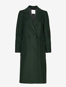 Lapels wool coat - DARK GREEN