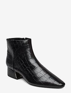 Croc-effect ankle boots - BLACK