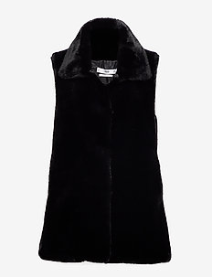 Faux fur waistcoat - BLACK