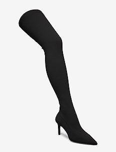 Elastic high heel boots - BLACK