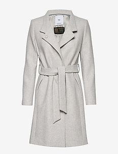 Belted wool coat - LT PASTEL GREY