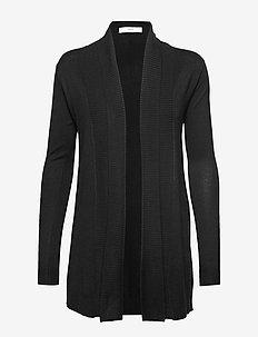 Ribbed detail cardigan - BLACK