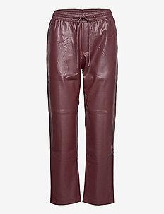 APPLE - læderbukser - dark red