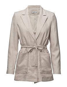 Belt linen blazer - LIGHT BEIGE