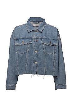 Frayed hem denim jacket - OPEN BLUE