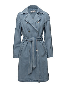 Double breasted denim trench - OPEN BLUE