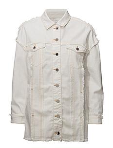 Contrasted seams denim jacket - LIGHT BEIGE