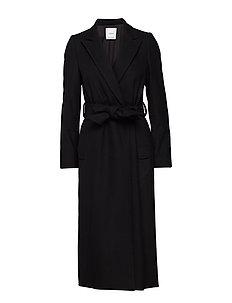 Structured wool coat - BLACK