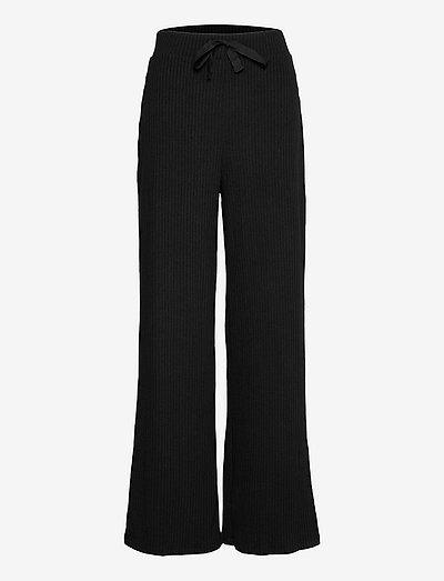 ROOIBOS - bukser med brede ben - black
