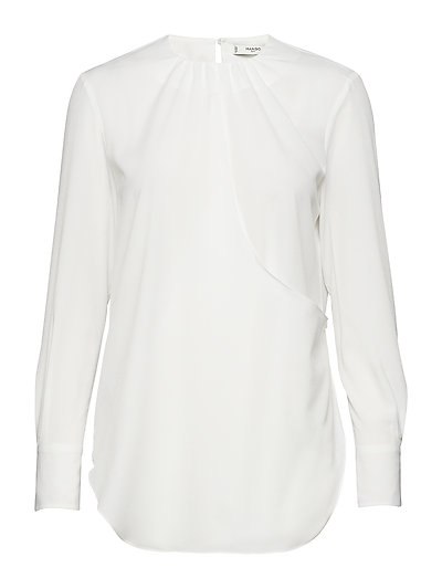 Ruched neck blouse - NATURAL WHITE