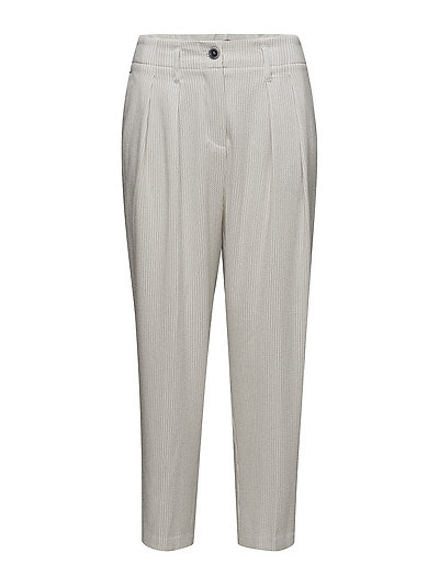 Texture striped trousers - NATURAL WHITE