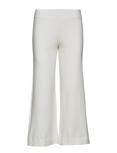 Crop knit trousers - WHITE