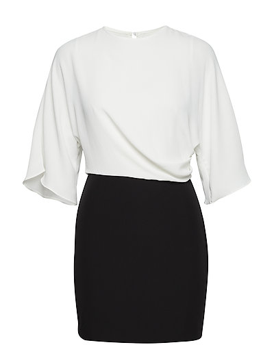 Monochrome contrast-bodice dress - BLACK